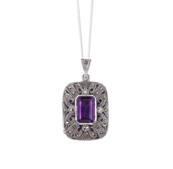 LILY BLANCHE Vintage Amethyst Locket in sterling silver £180.