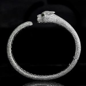 Cartier diamond panther head bangle