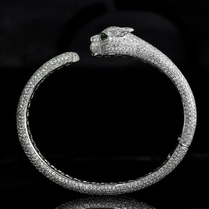 Cartier diamond panther head bangle