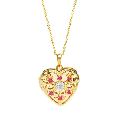 Lily Blanche Gold Love Locket Ruby