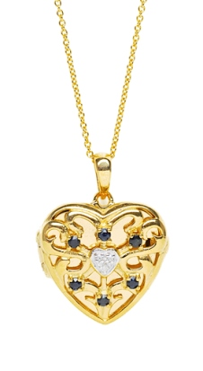 Lily Blanche Gold Love Locket Sapphire