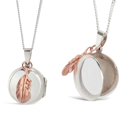 Lily Blanche Rose Gold Feather Locket