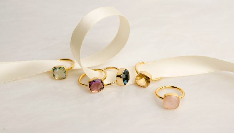 Five Gold Rings - Luminous Cocktail Rings by Lily Blanche