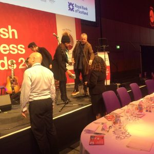 Jim Kerr and Simple Minds getting ready at the Scottish Buisness Awards
